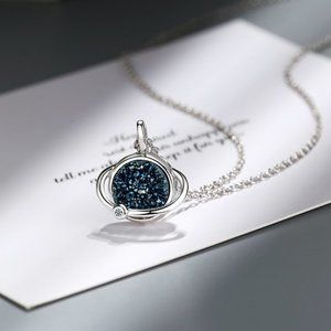 NEW 925 Sterling Silver Druzy Planet Necklace